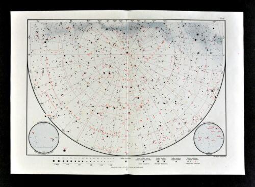 1925 Star Map Astronomy Chart North Sky Canes Mizar Alcor Pleiades Seven Sisters