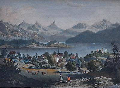 Meggen  Ruine Habsburg- kol. Aquatinta-Radierung  um 1820 Callow nach Winterlin