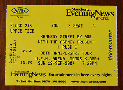 Rush R30 Ticket Stub, M. E. N. Arena, Manchester 2004
