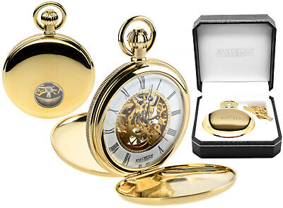Jean Pierre Twin-Lid Skeleton Pocket Watch, Gold Plated Visible Escapement g256p