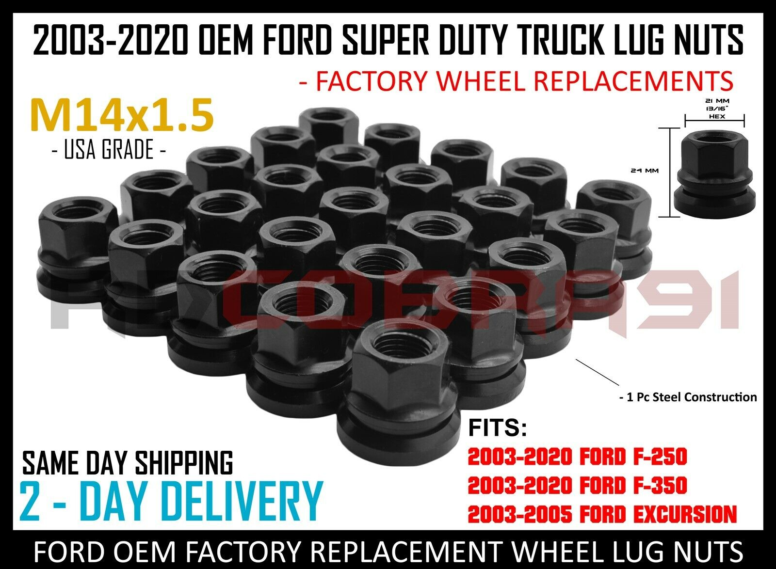 32PC FORD CHROME CONICAL SEAT 14X1.5 WHEEL LUG NUTS BULGE ACORN FOR FORD MODELS