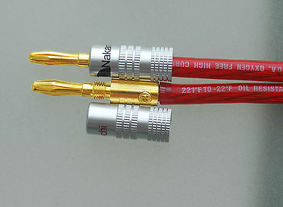 New 12 pcs 24K Gold Nakamichi Speaker Banana Plug Audio Jack Connector + US Ship