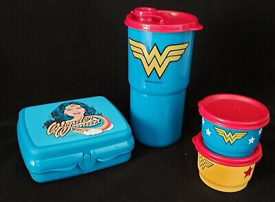 Tupperware Wonder Woman Lunch Set Thirsquake Tumbler Sandwich (2)Snack cup NEW