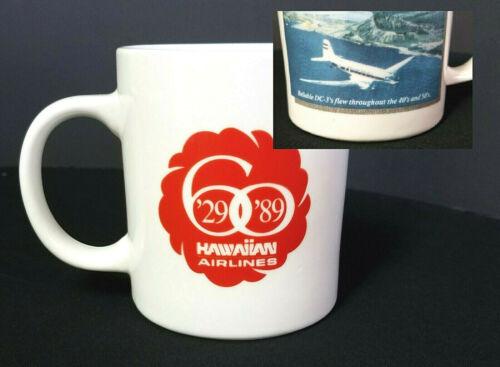 Vintage HAWAIIAN AIRLINES Mug Cup 60th Anniversary 1989 - DC-3 Airplane Honolulu
