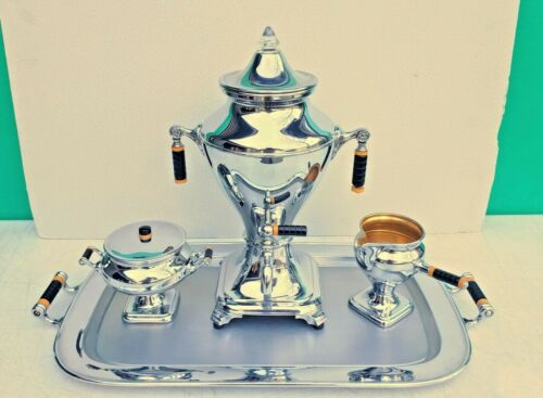 Manning Bowman Art Deco Chrome Bakelite Coffee Urn Sugar Creamer Tray Set 1930s