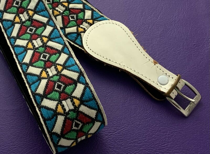 Vintage Guitar Strap Ace Style stained glass Jimi Hendrix 1960s Woodstock As Is