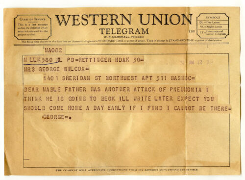 Western Union Telegram & Envelope Dated 1933 Hettinger North Dakota