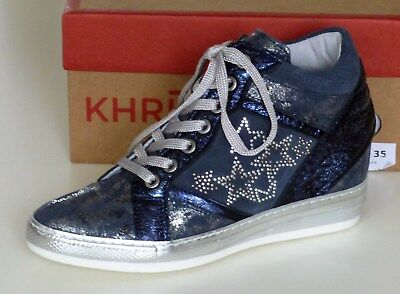 Khrio Vegas Prussia Navy High Top Wedge Ladies Leather Shoes # UK Size 6 - EU39
