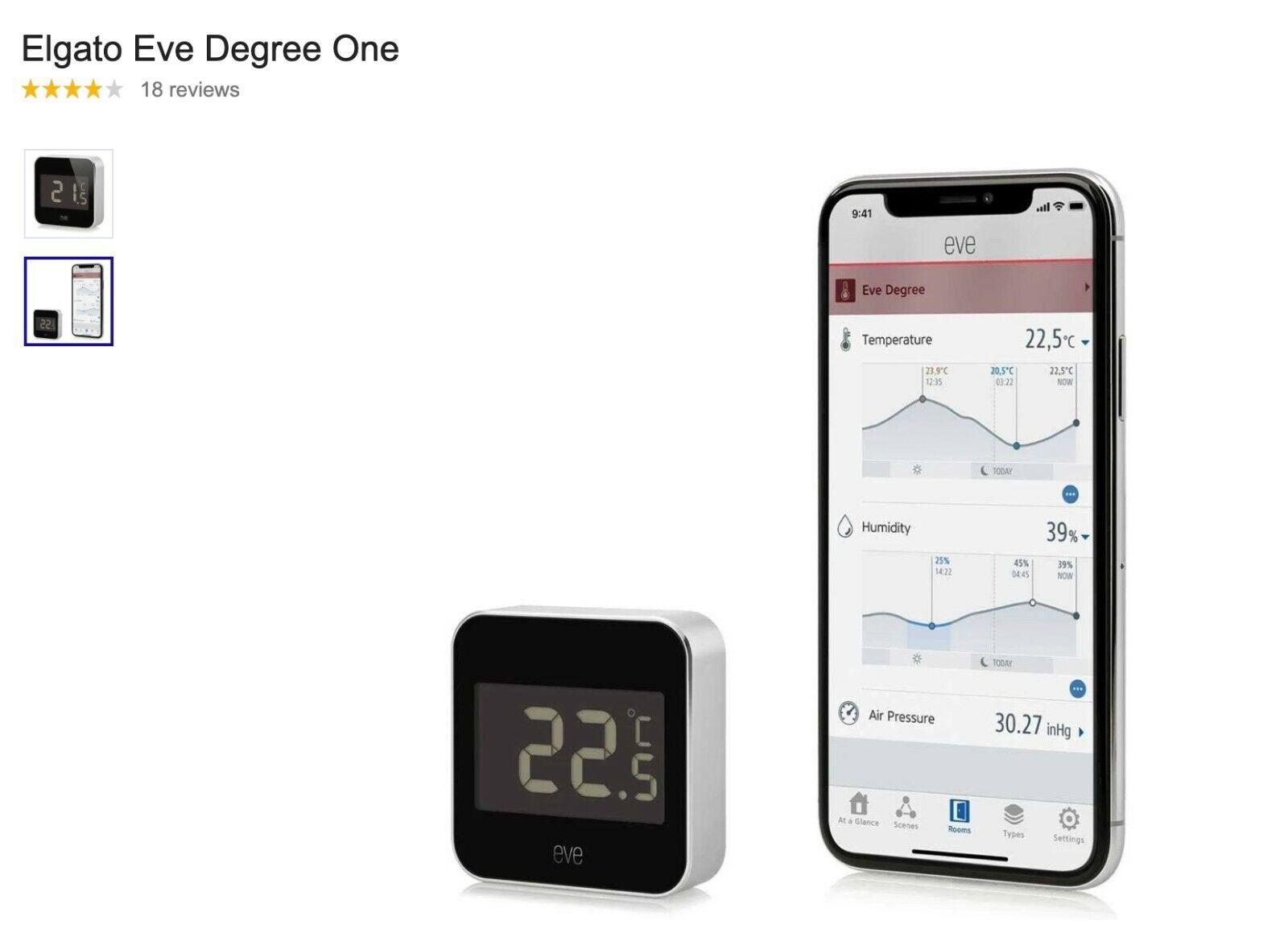 Elgato Eve Degree, Temperature & Humidity Monitor w/ Apple