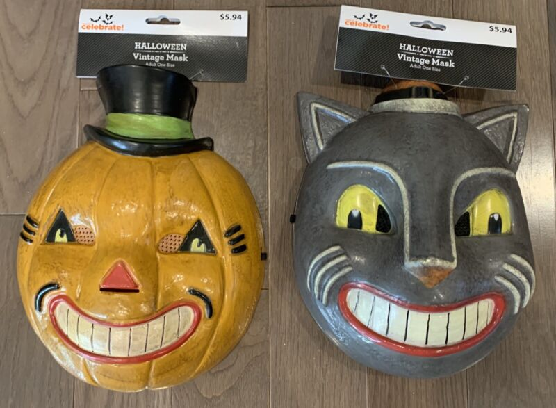 Vintage Inspired Halloween Cat & Pumpkin Mask Set 2020 With Tags