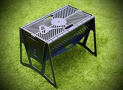 Portable Flatpack Fire Pit Grill BBQ Charcoal / Wood Premium product UK Made