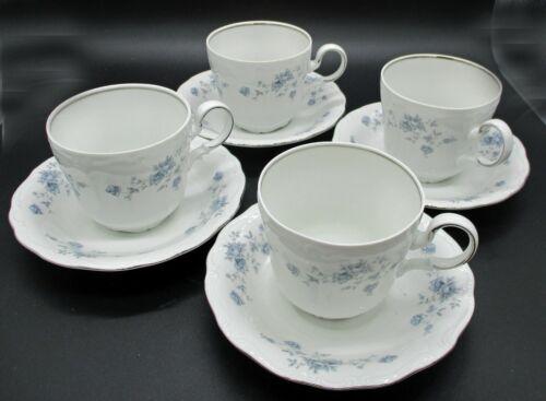 Set of 4 Johann Haviland Blue Garland Bavaria Germany China Cups & Saucers