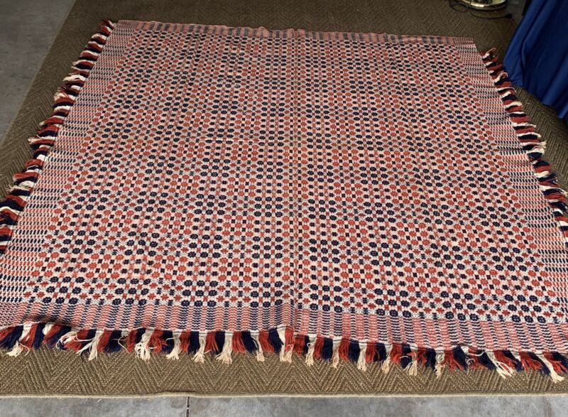 Antique Woven Fringed Coverlet
