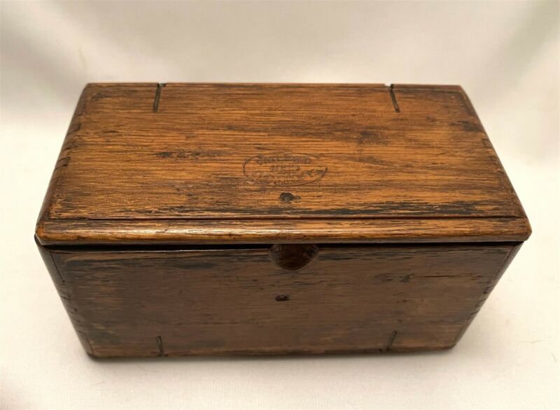 Antique Singer Sewing Machine Parts Oak Wooden Roll Up Puzzle Box Case 1889
