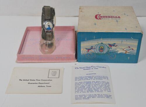 Rare Vintage 1950s Walt Disney Cinderella Wrist Watch w/ Original Slipper & Box