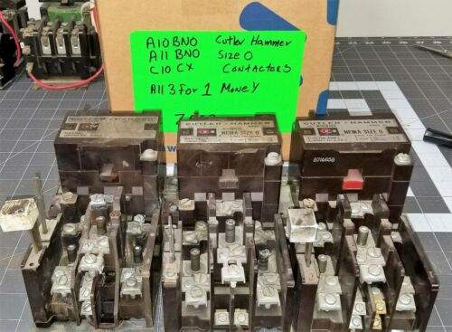 (3) Cutler Hammer A10BN0, A11BNO, C10CX  Contactors Tested Working Pull [Z5S3]