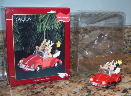 Carlton Cards Volkswagen VW Beetle Reindeer Christmas Ornament On Our Merry Way