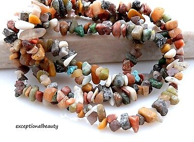 Assorted Chakra Gemstones Chips Free Form Tumbled Chip Beads Long 34 Inch Strand
