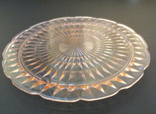 Jeannette Depression Glass Pink Windsor Diamond Footed Cake Plate