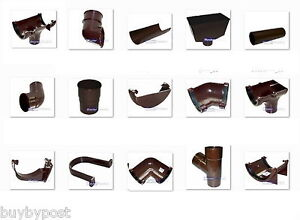 New-Plastic-Brown-Round-Gutter-and-Guttering-Down-Pipe-112mm-Gutter-68mm-Pipe
