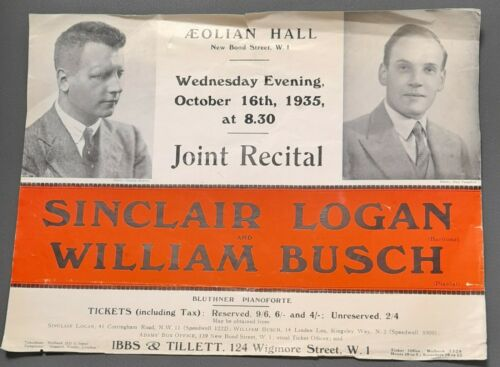 1935 Sinclair Logan Baritone & William Busch Piano Recital Flyer Aeolian Hall