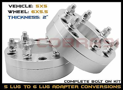 """2 Pc 5x5 to 6x5.5"""" Wheel Adapters Conversion Bolt On 2"""" Thick 6 Lug Wheels on 5"""