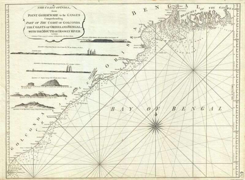 1794 Laurie and Whittle Nautical Map  of Northeastern India