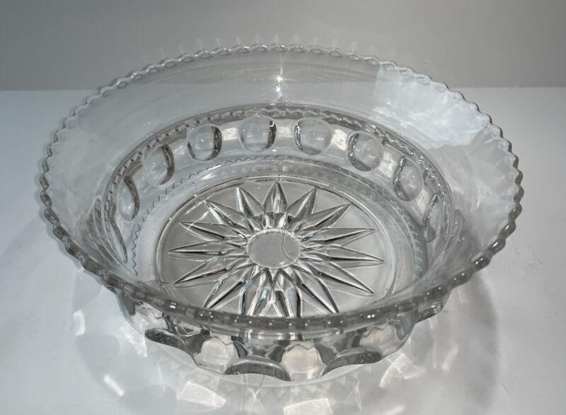 "Kings Crown Indiana Glass Clear Serving Bowl Ridged Rim 9"" Diameter"