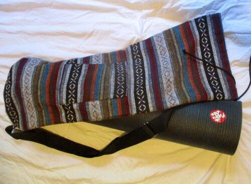 Manduka Yoga Mat PROlite + Tribal Mat Carrier Solid Black Blue CF