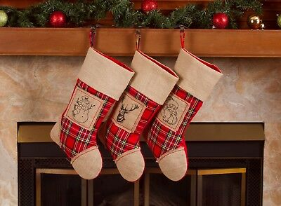"Burlap Christmas Stockings – 18"" Xmas Santa Burlap Stockings 3 Pack"