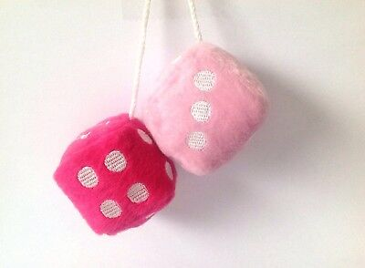 Retro Pink / White Soft Fluffy Furry Car & Home Hanging Spotty Dice Groovy - Pink Fluffy Dice