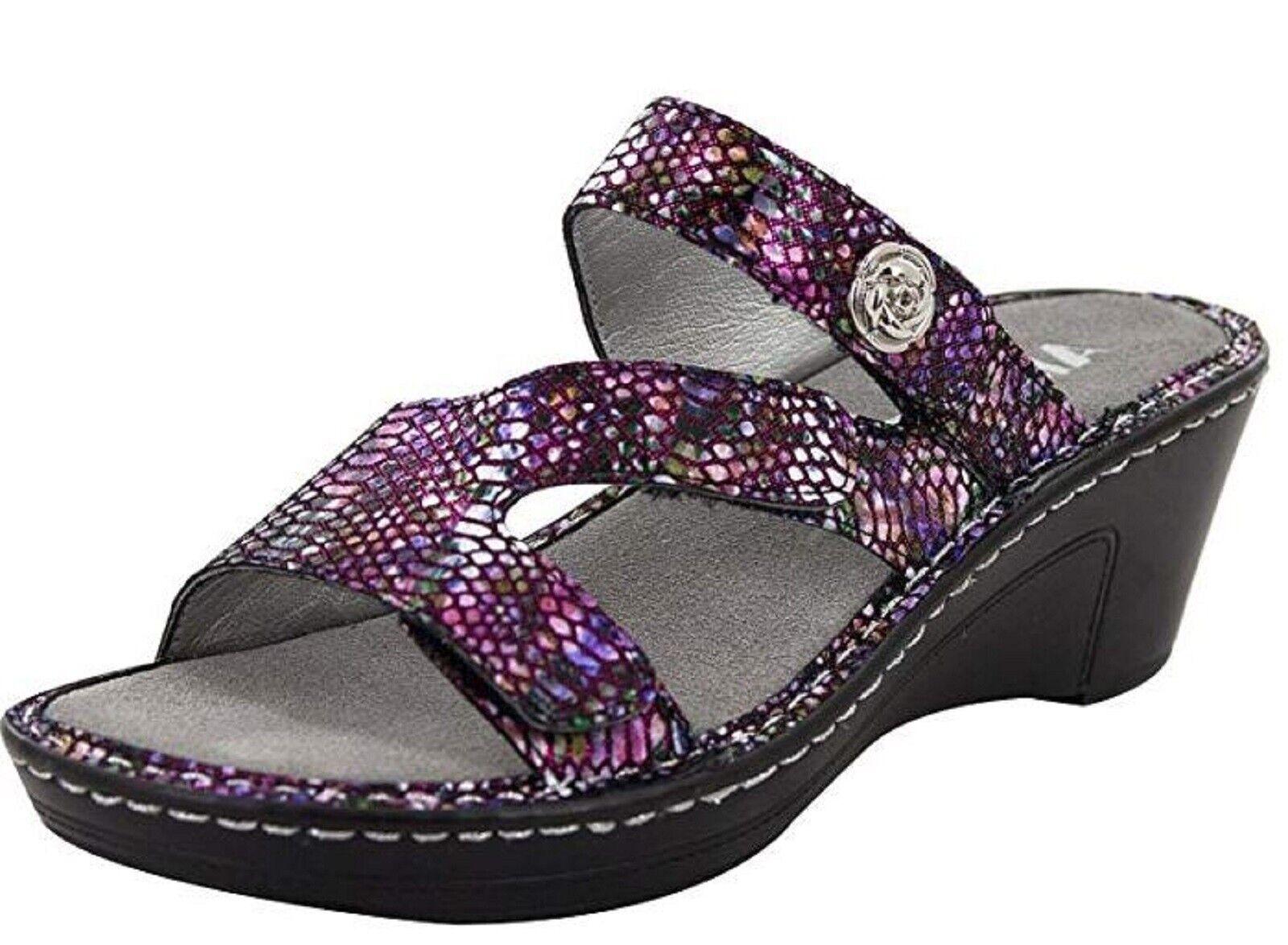 Alegria Womens LOTI Leather Wedge Sandals FUNTASTIC Size 8 -