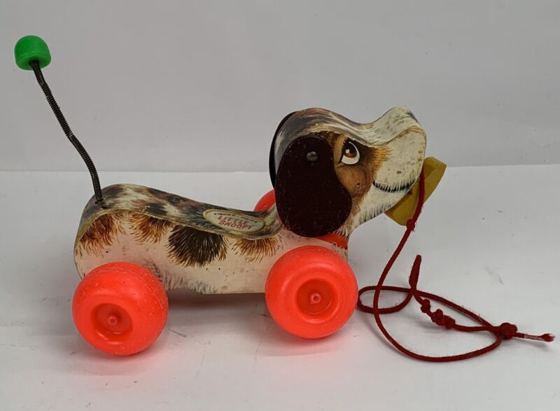 "1965 Vintage Fisher-Price ""LITTLE SNOOPY"" (Dog) Wooden Pull-Toy, No. 693"