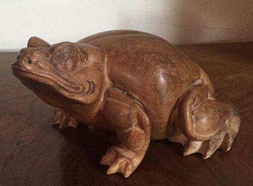 Vintage Hand Carved Wood Frog Figure Toad Sculpture Wooden Lizard