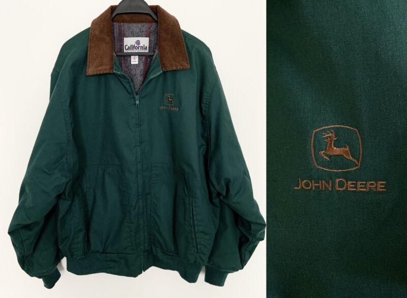 Vintage 80s JOHN DEERE Insulated Denim Barn Coat Jacket Flannel Lined Green XL