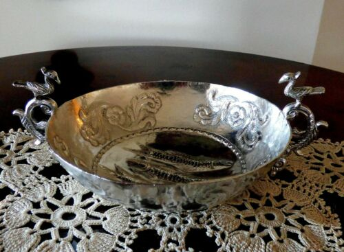 RARE ANTIQUE FISH BLESSING KERU SPANISH COLONIAL SOLID SILVER  BOWL