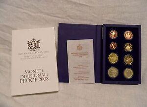 San Marino KMS 2008 der Erste original Kursmünzensatz Polierte Platte PP Proof
