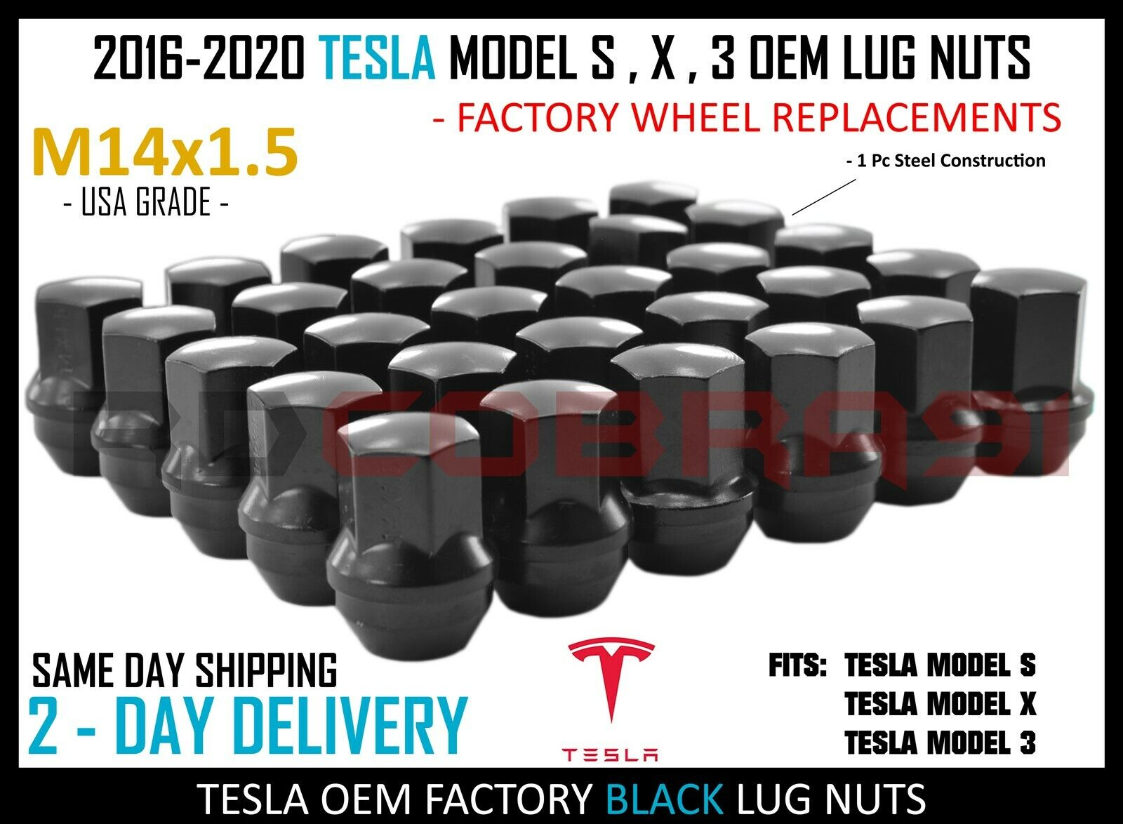 TESLA MODEL S RED 20PCS OEM REPLACEMENT LUG NUTS