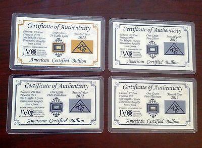 ACB Gold Silver Platinum Palladium 1GRAIN Bullion Bars Cert. of Authenticitys $