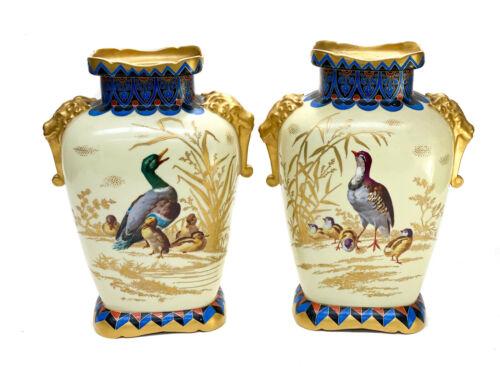 Pair French Porcelain Japonisme Vases, Hand Painted Ducks, circa 1940