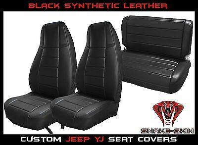 Jeep Wrangler YJ 1987-1995 Custom Fit Seat Covers Black Over-Lay Made In