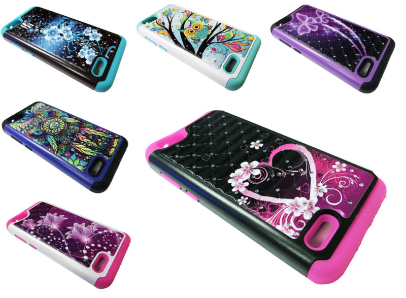 Sparkle Hybrid Phone Cover Case For Zte Zfive G C Z557bl Z558vl