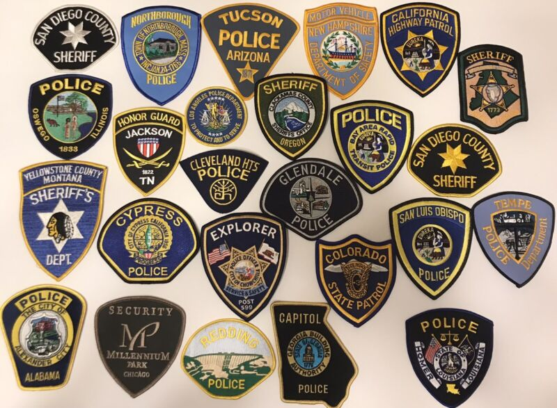 Lot Of 25 Police Patches - All New Condition Trader Lot Xx