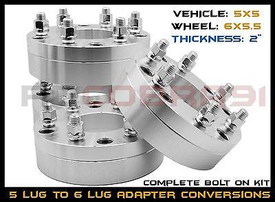 4 Pc 5 To 6 Lug Conversion Wheel Adapters 6x5.5