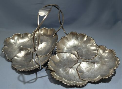 Reed & Barton Sterling Silver Repousse Double GrapeVine Leaf Serving Centerpiece