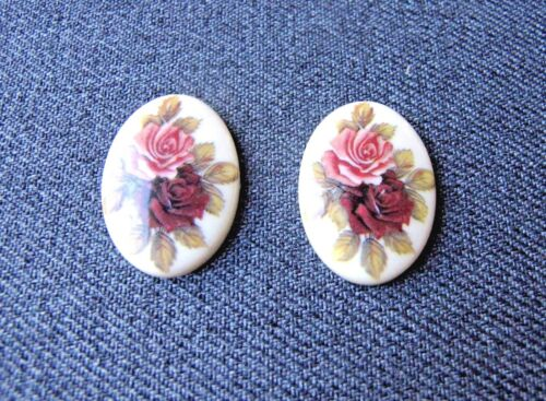 2 VINTAGE FLOWERS & LEAVES OVAL CABOCHONS APPLIQUES JEWELRY MAKING UNUSED  X5.