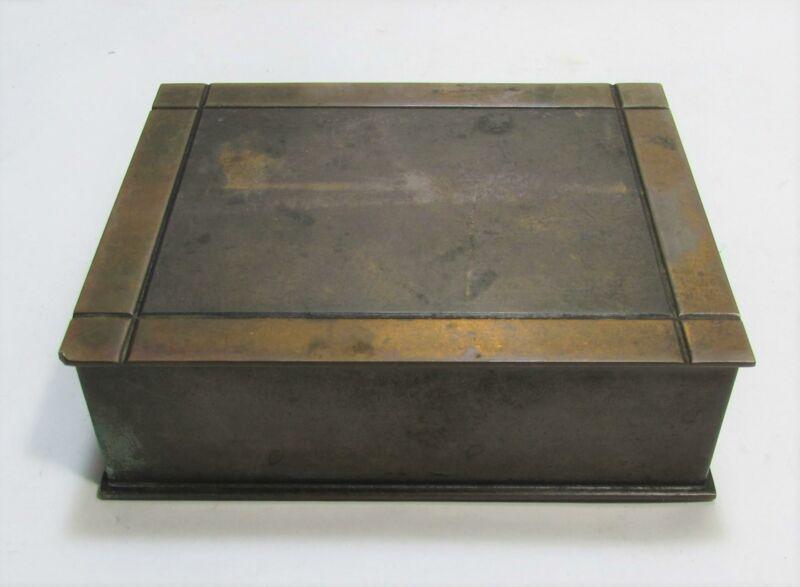 Vintage Silver Crest Decorated Bronze Cedar Lined Humidor Tobacco Box 508-91 45