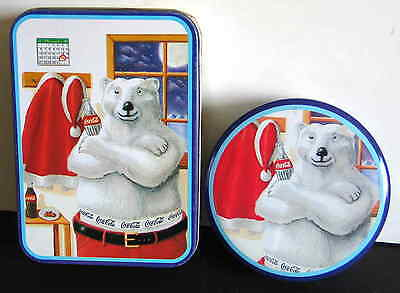 1996 Coca Cola 2 Christmas Polar Bear Tins Santa Outfit Arms Crossed  FREE SH