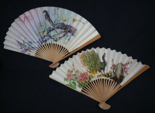 Japanese Decorative Folding Fan Set * Colorful Designs! * 2 Fans * Excellent!