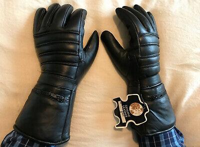 Men's Motorcycle Gloves Genuine LEATHER Gauntlet Rain Cover Motorbike Ridding ](Gauntlet Gloves)